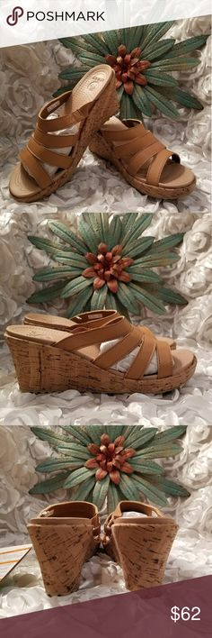 ♡ONLY 1♡! BEAUTIFUL SANDAL WEDGES BY CROCS! SZ 8 ☆Retail $69.99!!☆ Listed here for limited time! These are ABSOLUTELY so cute!! And made for comfort. Have a relaxed fit and elastic where straps meet the shoe for UNBELIEVABLE COMFORT. Super grip bottoms for safety and GORGEOUS cocoa/gold color. The heel at highest point on wedge is about 3in. Super cushy with tiny soft grips in footbed. Very lightweight! GORGEOUS sandal!!♡♡ CROCS Shoes Wedges