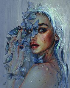 """103 Likes, 2 Comments - Art of Tanya Shatseva (@tanyashatseva) on Instagram: """"'Lunar Pollen' Spirits of transformation carrying lunar signs on their wings and spreading their…"""""""