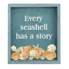 """A great way to display your seashell collection for all to see, the Seashell Holder Shadow Box features a """"Every seashell has a story"""" inscription and plus a weathered blue finish to inject a character to any coastal-inspired decorative motif. Craft Room Decor, Nature Crafts, Wedding Gift Registry, Shadow Box, Bedding Shop, Fine China, Bath Towels, Sea Shells, Decorative Plates"""