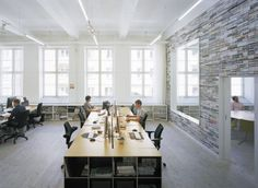 Creative workplace case study: Oktavilla- bureau for magazine design in an old textile manufacturing hall in Stockholm.