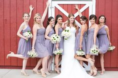 Bridal party portraits, recreate Bridesmaids the movie! In front of wedding venue Crooked Willow Farm Photos by Katie Corinne Photography #Weddingphotography