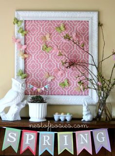 Maybe I can put fabric in a frame behind my mantle to give definition to the space!