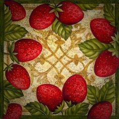 Strawberry Garden, Fruits And Veggies, Decoupage, Strawberries, Artist, Crafts, Painting, Medium, Color