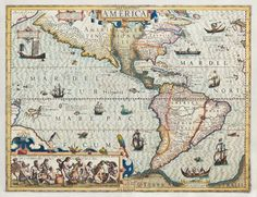 AMERICA, from the Mercator-Hondius Atlas. Amsterdam, J. Hondius. 1607