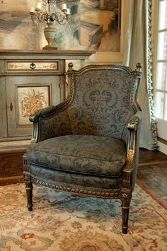 Beautiful vignette chair for an elegant home .love how the chair works with the rug, console and tapestry. French Furniture, Painted Furniture, Home Furniture, Green Furniture, Furniture Online, Bathroom Furniture, Office Furniture, Furniture Ideas, Modern Furniture