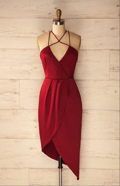 Cheap Sheath V-Neck Sleeveless Criss Cross Burgundy Satin Asymmetrical Homecoming Dress