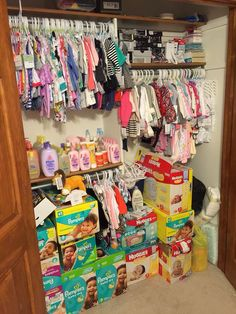 ways to organize a nursery closet that has too much STUFF in it. This page has lots of smart (and EASY) nursery closet storage and organization ideas that really work to organize even this much baby stuff in the baby room! Nursery Closet Organization, Closet Storage, Organization Ideas, Storage Ideas, Baby Registry Essentials, Diaper Bag Essentials, Baby Life Hacks, Baby Storage, Preparing For Baby
