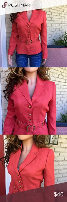 NWOT Tahari salmon coral gold detail blazer jacket Absolutely GORGEOUS coral/salmon blazer/jacket with bold gold buttons and gold studded belt. New without tag. Belt still attached with plastic ring. Lined. Built in subtle shoulder pads. Almost a tweed look. Great for Spring. Polyester. Will fit a 6 too. Tahari Jackets & Coats