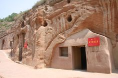 The Yaodongs of Shaanxi, a Yaodong is an acient Chinese Building style where homes are carved into rock.