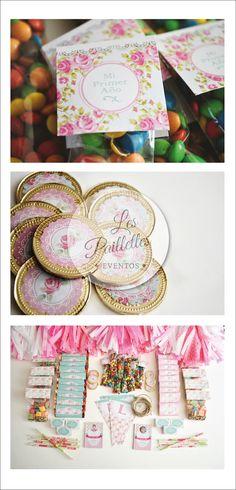 Shabby Chic. Envoltorios para Rodhesia, Chocolatin y Caramelos, Mini Rocklets, Moneditas #golosinas #envoltorios #candybar #shabbychic #birthday #party