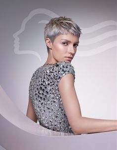 Large image of short grey straight hairstyles provided by Wella. Picture Number 19232