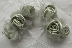 18pc Chic GREEN Satin Organza Ribbon Wired by delightfuldesigner