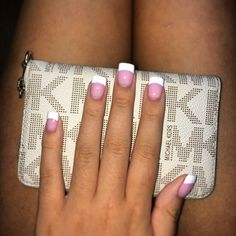 Pink and white acrylic nails