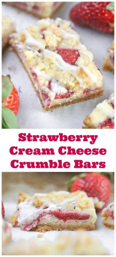 Strawberry Cream Cheese Crumble Bars - They are moist, juicy and flavorful, bursting with strawberries, a hint of lemon, baked on top of a vanilla cake crust, with some yummy vanilla cake crumbles and then drizzles of creamy powdered sugar glaze on top. Immeasurably delightful and addicting. #strawberry #strawberryandcream #vanillacake #breakfast bars #springdesserts