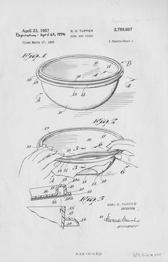 """From the Smithsonian Institution Traveling Exhibition Service's archived exhibition """"Doodles, Drafts, and Designs: Industrial Drawings from the Smithsonian."""" Patent drawing of bowl and cover, 1957, by Earl S. Tupper. In 1947, Tupper invented the unique, water-tight """"Tupper Seal"""" for containers that kept food fresh. This breakthrough, along with an innovative """"home-party"""" marketing technique, laid the foundation for Tupperware's success. Collections @National Museum of American History…"""