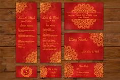 Red-gold ethnic wedding set by Della_Liner on @creativemarket