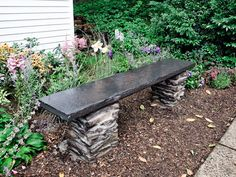 How to Build a Stone Garden Bench.  Want to have this in my butterfly/hummingbird garden.