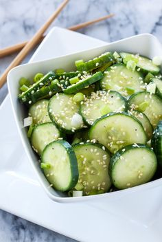 A fresh cucumber salad full of Asian and sesame flavors! Vegan and gluten free!