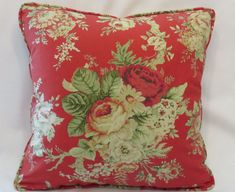 Red Cottage Floral Throw Pillow - NEW Waverly Santctuary Rose #Waverly