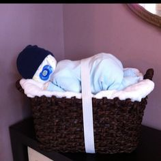 diaper cakes made with baskets - Google Search