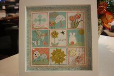 "My Spring/Easter sampler in an 8""x8"" frame. Visit www.stampingwithjudyg.blogspot.com"