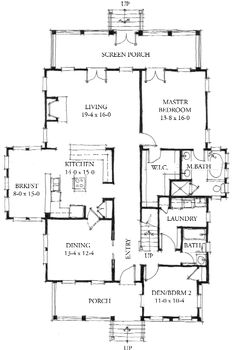 Allison Ramsey Architects | Floorplan for The Eden - 2461 square foot house plan # C0231