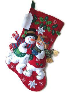 Finished Bucilla Christmas Stocking  Snowflake by PinsandNeedles0, $74.95