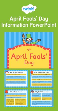 April Fools' Day Information PowerPoint What Is April, Morning Activities, April Fools Day, Pre School, Something To Do, Celebrations, Presentation, Learning, April Fools
