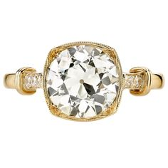 2.04 Carat GIA Cert Old European Cut Diamond Gold Engagement Ring | From a unique collection of vintage engagement rings at https://www.1stdibs.com/jewelry/rings/engagement-rings/