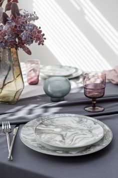 We love the ethereal feel the Gunnison grey tableware gives and it's the star of our new Stargaze trend from A by Amara, the perfect complement to grey dining rooms and cool pastel accents. Dining Room Inspiration, Luxury Gifts, Stargazing, Dinnerware, Table Decorations, Marbles, Kitchen Utensils, Cool Stuff, Dining Rooms