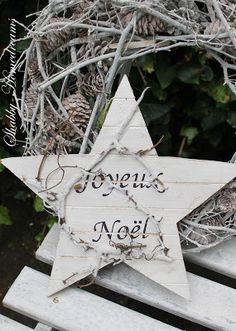 Joyeux Noel wood star and twig wreath