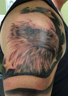 Eagle and flag Daddy Tattoos, Future Tattoos, Leg Tattoos, Body Art Tattoos, Tattoos For Guys, Cool Tattoos, Redneck Tattoos, Bald Eagle Tattoos, Police Tattoo