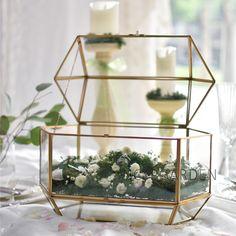 Large Irregular Polyhedral Geometric Glass Terrarium Lantern Succulent Plant Flowerpot 11 inches Height
