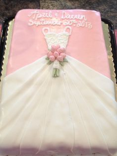 trendy pink bridal shower cake the bride Bridal Shower Attire, Elegant Bridal Shower, Elegant Wedding Cakes, Bridal Showers, Wedding Shower Cakes, Bridal Shower Centerpieces, Pastel Rectangular, Dress Cake, Dress Cupcakes