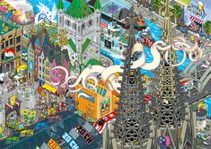 dibujando arquitecturas: EBOY, el Pixel Art dibuja ciudades