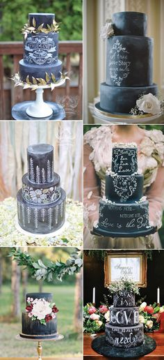 We all know how popular chalkboard signage has been for weddings. We also know how popular chalkboard paint is for home decor! This is the newest thing we've seen chalkboard take over. Cakes! Aren't these amazing?!