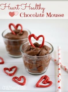 Heart Healthy Chocolate Mousse by www.crazyforcrust.com | A secret ingredient makes this a healthy chocolate mousse!