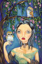 "NFAC Original TL Gulat 4""x6"" Acrylic Folk Art Painting Birds Owls ""Night Owls"""