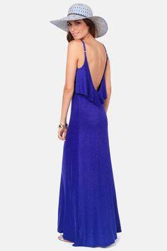 Cute Royal Blue Dress - Maxi Dress - Jersey Knit Dress - $43.00