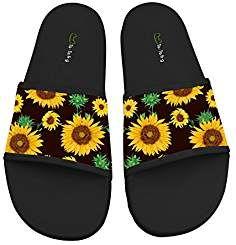 969537201 Hawaii Sunflower Soft Slide Sandal Slippers Flats Flip Flops Open toed  Summer Beach Shoes for Couples
