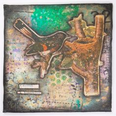 Original Redstart Bird & Nest Mixed Media Collage by wiggelhevin, $35.00