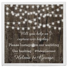 String of lights on old wood and Instagram hashtag rustic wedding paper napkin.  #papernapkin, #wedding, #wood, #hashtag, #Instagramhashtag, #Instagramourwedding