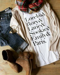 Gilmore Girls t-shirt; Fall fashion outfit; plaid scarf, ankle boots, t-shirt and cardigan; Gilmore Girls revival