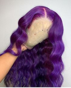 Brazilian Remy Lace Front Wig Purple Colored Human Hair Body Wave for Black Women Pre Plucked Ombre Hair Color, Hair Color For Black Hair, Blonde Color, Gray Hair, Baddie Hairstyles, Weave Hairstyles, Drawing Hairstyles, Scene Hairstyles, Hairstyle Men