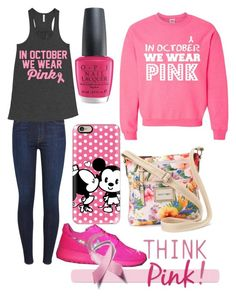 """""""Think pink"""" by ingridmv on Polyvore featuring 7 For All Mankind, Casetify, OPI, Rosetti, Pink, october and IWearPinkFor"""