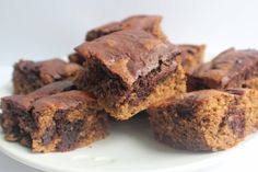 Banana, Peanut Butter & Chocolate Swirl Blondies - NATVIA - No added or refined sugar / can be gluten-free