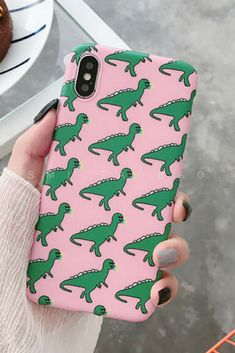 Pink Dinosaur iPhone 6, 6 Plus, iPhone 7, 7 Plus, iPhone 8, 8 Plus & iPhone X Protective Case For cute girls
