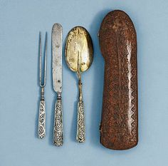 17th/18th Century leather cased cutlery set. Makers mark for Erhard Warnberger II Augsburg (1694 -1733). Sold by Bukowski Auctions, Stockholm, Sweden. 9 Dec. 2010.