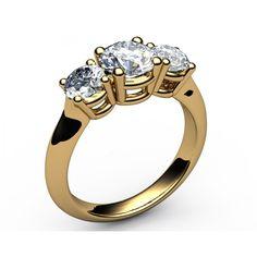 Classic 3-stone Diamond Engagement Ring in 18K Yellow gold (1.80 ct. tw.) - 3-stone Diamond rings