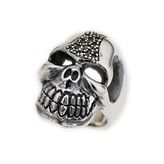BLACK CZ PAVE SKULL 925 STERLING SILVER MEN'S WOMEN'S ROCKER BIKER RING ma-r023